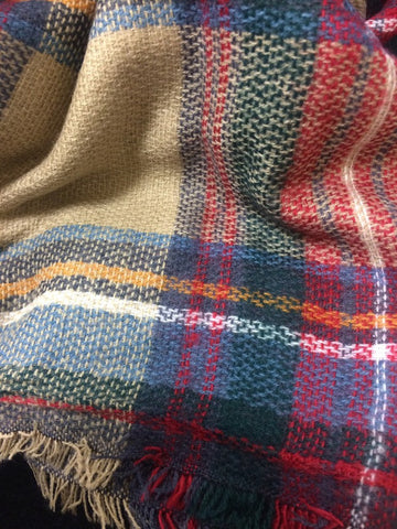 Plaid Blanket Scarf - Taupe