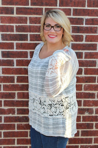 Grey Top W/Crochet Detail - Plus