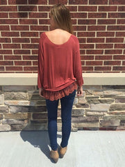 Brick Lace Trim Top