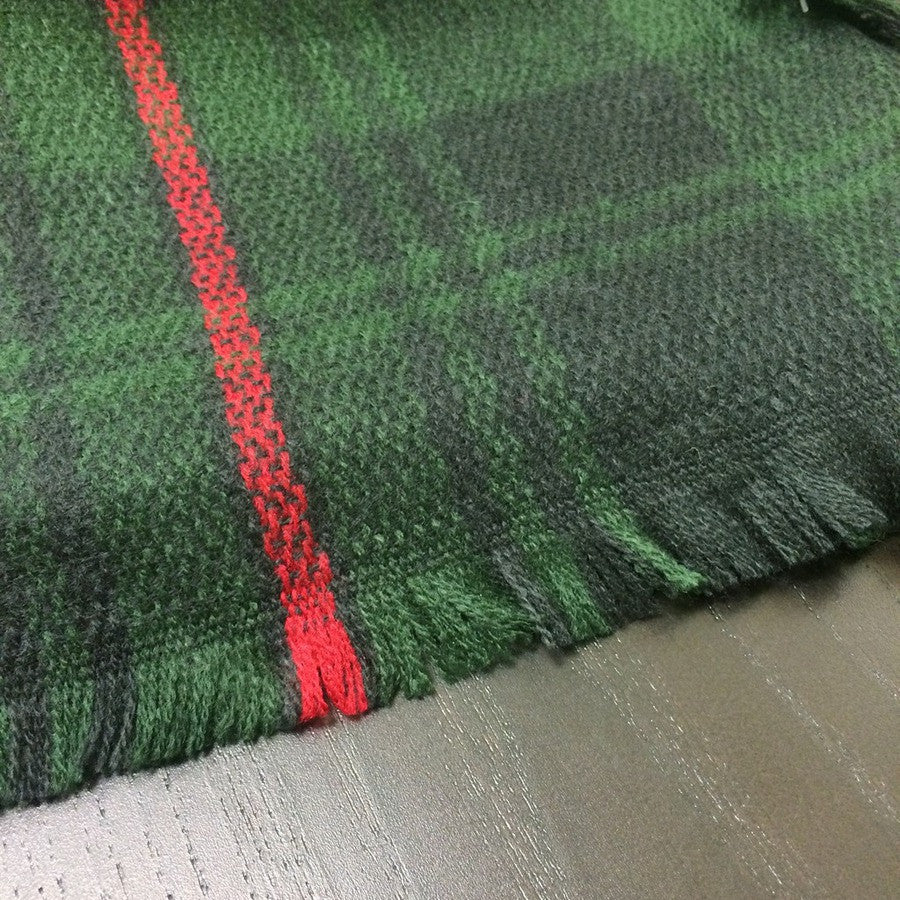 Plaid Blanket Scarf - Green