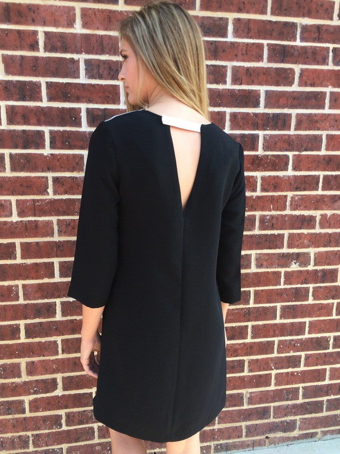 Black Color Block Dress