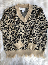 V-Neck Distressed Sweater - Leopard
