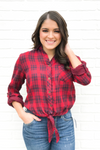 Front Tie Plaid - Red