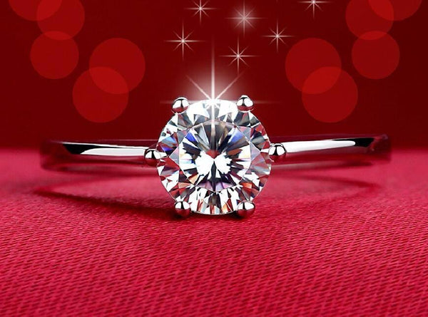 AH8895C0 18K White Gold Plated Twin Zircon CZ Diamond Ring