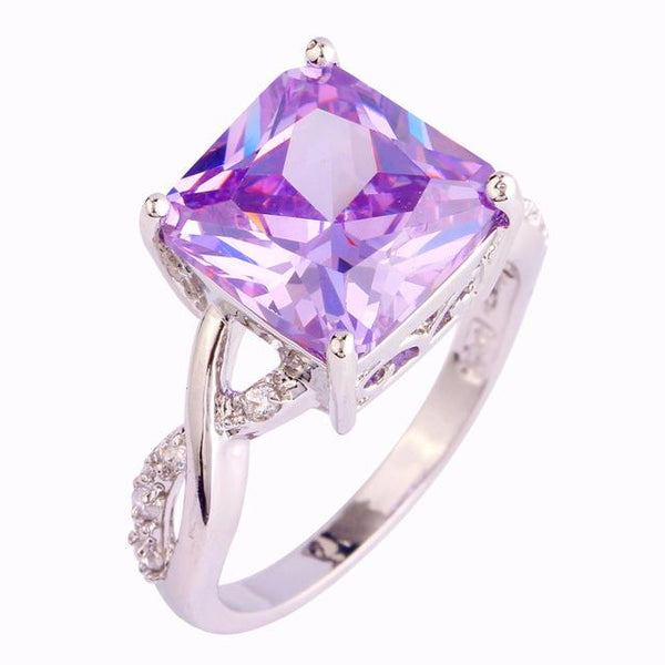 AJAIXEYQ 18K White Gold Plated Light Purple Tourmaline Ring