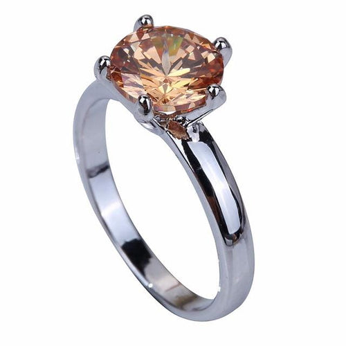 AKYS3NDZ 18K White Gold Plated Champagne Morganite Ring