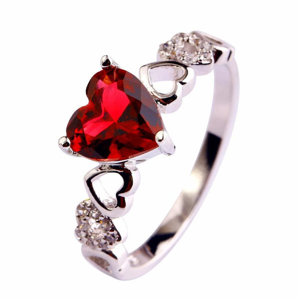 AMKSYCLD 18K White Gold Plated Red Heart Shaped Tourmaline Ring