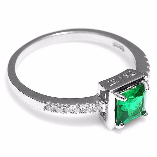 B6MHLVYD 925 Sterling Silver 0.8ct Emerald Ring