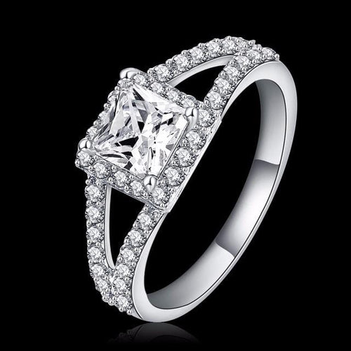 EG5FJG31 Platinum Plated Square CZ Ring