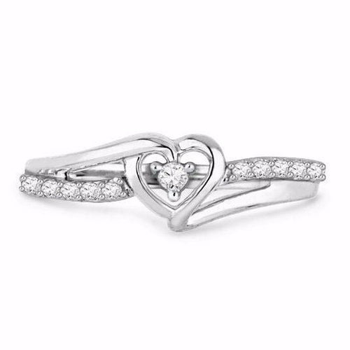 E33TPL2N 925 Sterling Silver Heart CZ Ring