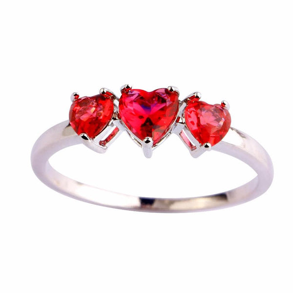 FDXKJPLH 18K Gold Plated Ruby CZ Ring