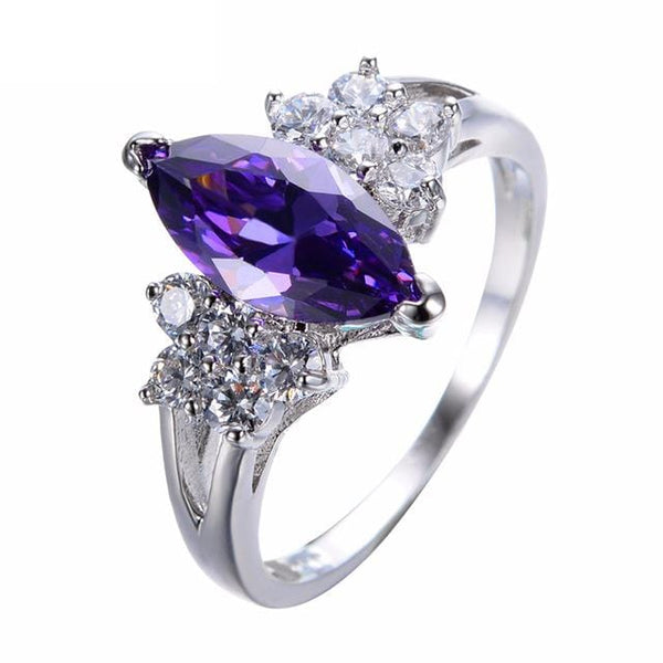 FRAP4JH4 White Gold Filled Amethyst Ring