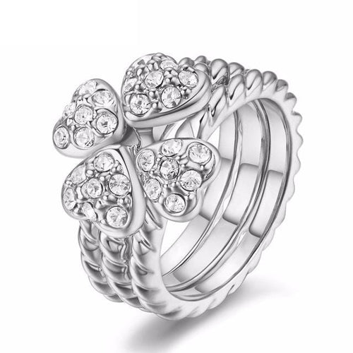 FUWV4BKW White Gold Plated CZ Crystal Embedded Clover Ring