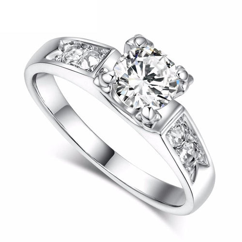 FY1HMO24 Platinum Plated CZ Crystal Ring