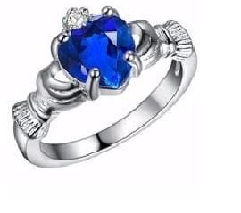 IZPZOU3U Silver Filled Celtic Heart Holding Blue CZ Ring