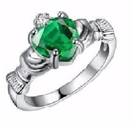 IW2FLHOM Silver Filled Celtic Heart Holding Green CZ Ring