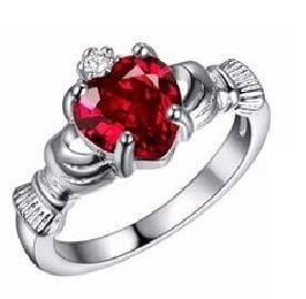 IZESLJZ9 Silver Filled Celtic Heart Holding Red CZ Ring