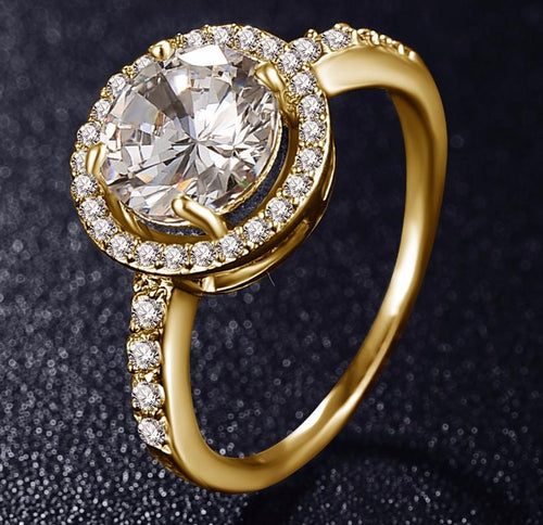 JL4UQVSJ Gold Plated Round CZ Crystal Ring