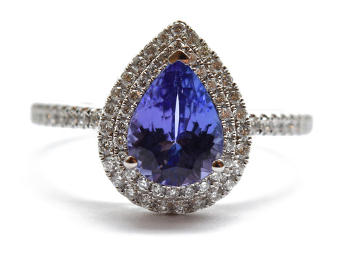 TI2UU0ED 14K White Gold Pear Cut Tanzanite & Diamond Ring