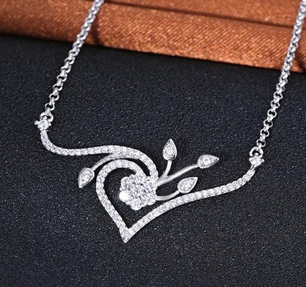 A2KY 925 Sterling Silver CZ Necklace
