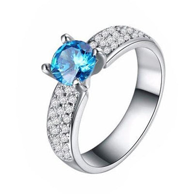 A9X8A 925 Sterling Silver Blue CZ Ring