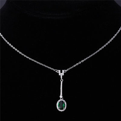 AB2G 925 Sterling Silver Emerald CZ Necklace