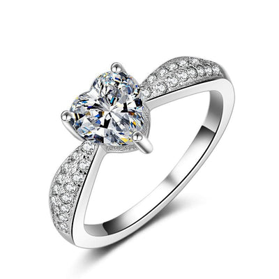 ABT7E 925 Sterling Silver Heart CZ Ring