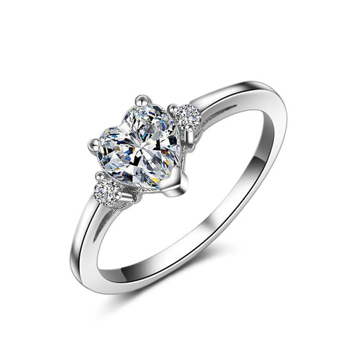 ACADM 925 Sterling Silver Heart CZ Ring