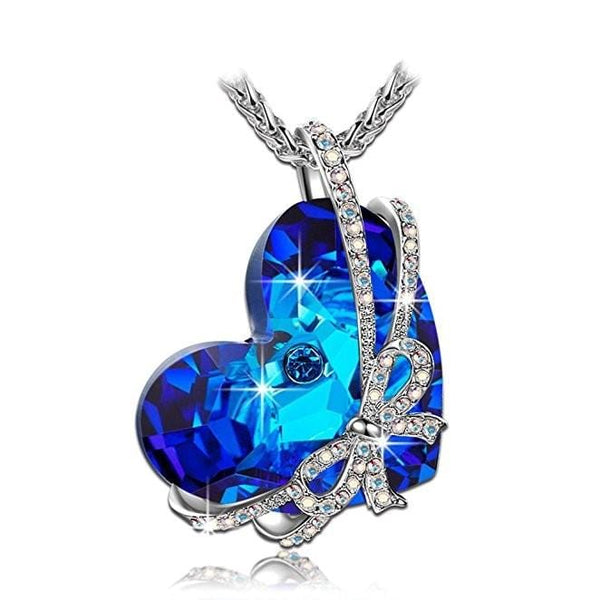 AFTE 925 Sterling Silver Blue Heart CZ Necklace
