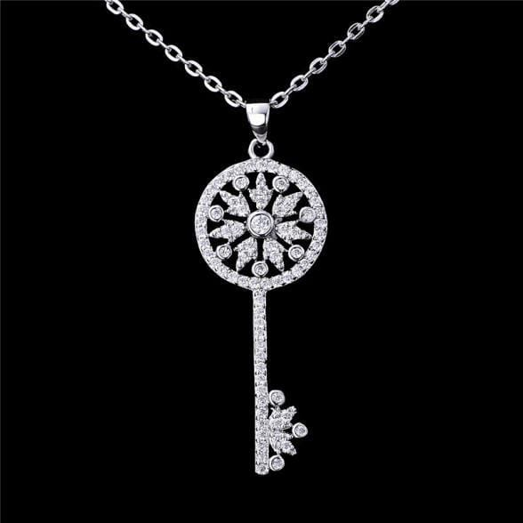41b455015614 AGZH 925 Sterling Silver White CZ Necklace