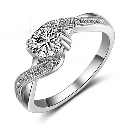 AH4EP 925 Sterling Silver CZ Ring