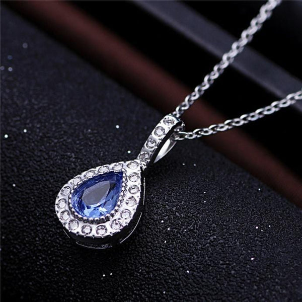 AJNQ 925 Sterling Silver Blue Sapphire CZ Necklace