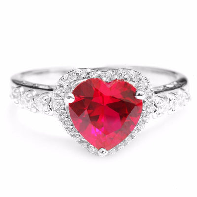 ANAB3RKS 925 Sterling Silver Blood Red Ruby Heart Ring