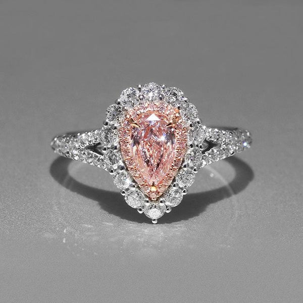 APX22 925 Sterling Silver Pink Drop CZ Ring