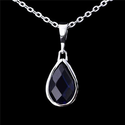 AQB9 925 Sterling Silver Blue Sapphire CZ Necklace