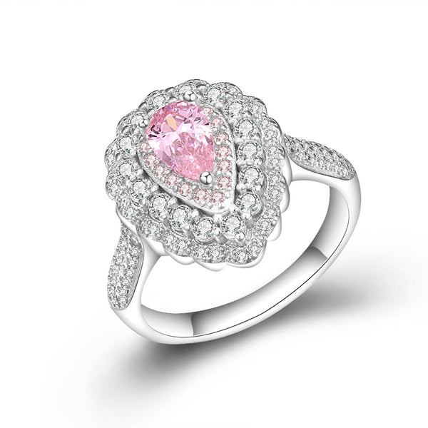 ARH8M 925 Sterling Silver Pink Drop CZ Ring