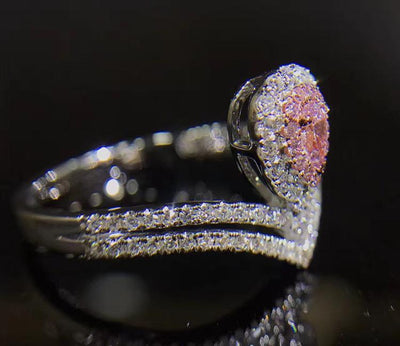 ARJB2 925 Sterling Silver Pink Drop CZ Ring