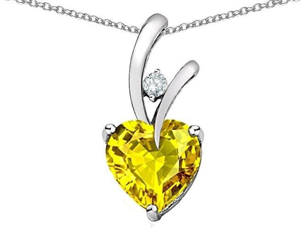 AUHV 18K Rose Gold Plated 925 Sterling Silver Yellow Citrine Heart CZ Necklace