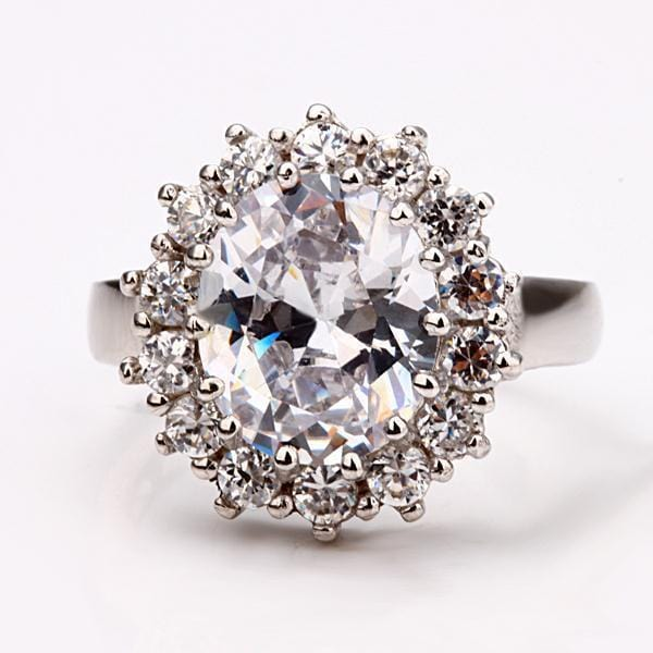 AUHYO5W5 18K White Gold Plated AAA Swiss CZ Kate Middleton Replica Ring