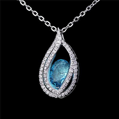 AWFF 18K Gold Plated 925 Sterling Silver Blue Sapphire CZ Necklace
