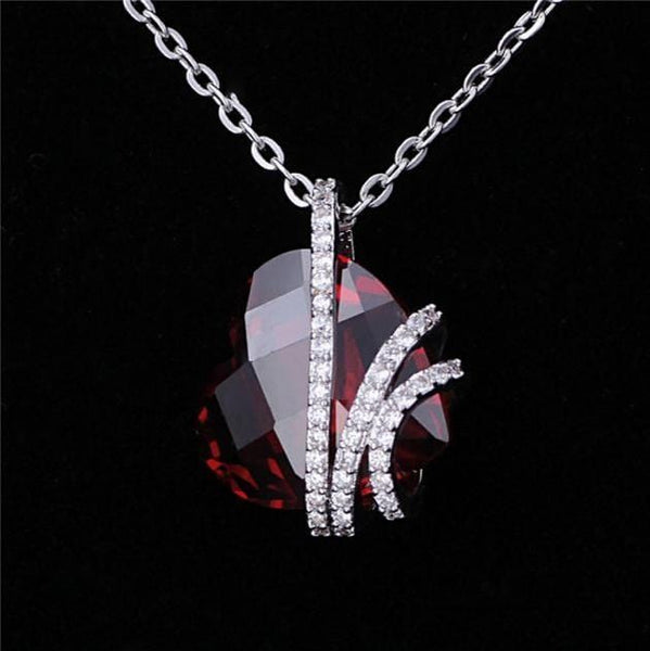 AXNA 925 Sterling Silver Red Heart Ruby CZ Necklace