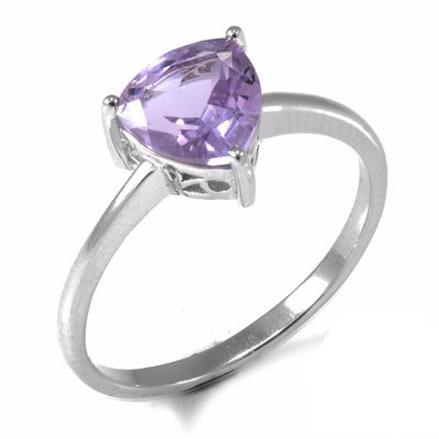 B0QS07Z4 925 Sterling Silver Trillion 1.4ct Natural Purple Amethyst Ring
