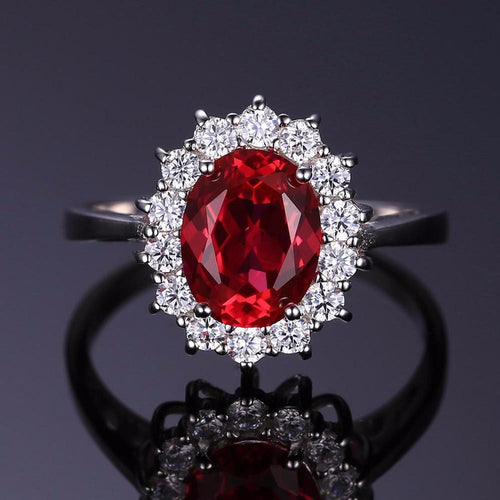B19N6NKR 925 Sterling Silver 2.5ct Red Ruby Princess Diana Replica Ring