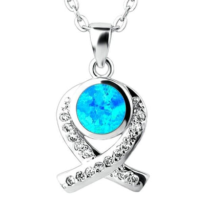 B32Z 925 Sterling Silver Opal & CZ Necklace