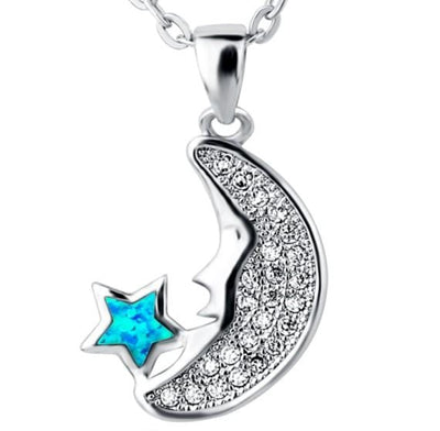 B9WK 925 Sterling Silver Moon Opal & CZ Necklace