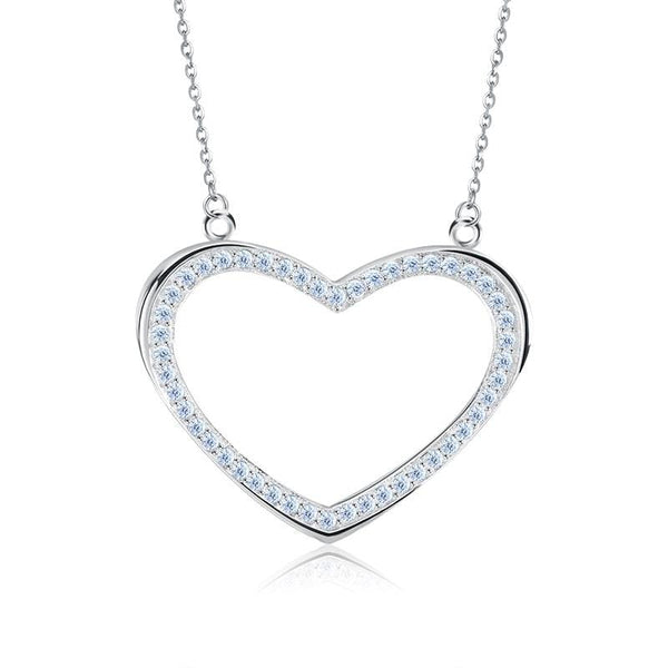 BB8C 925 Sterling Silver Heart CZ Necklace