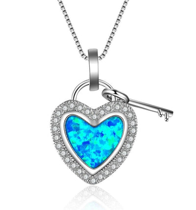 BCJN 925 Sterling Silver Heart Blue Opal & CZ Necklace