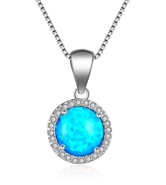BCMT 925 Sterling Silver Round Blue Opal & CZ Necklace