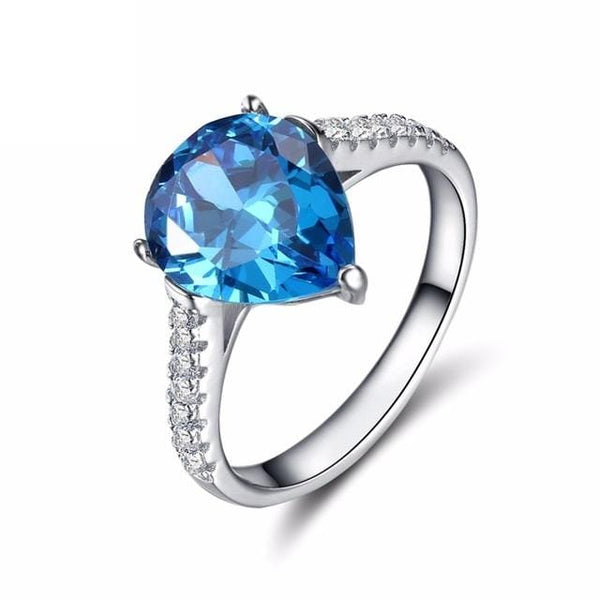 BD73M 925 Sterling Silver Water Drop Blue CZ Ring