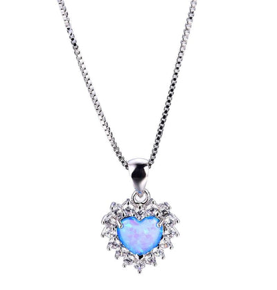 BDGU 925 Sterling Silver Heart Blue Opal & CZ Necklace